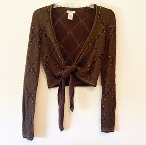 Cache Cropped Tie Front Sweater Brown Beads XS